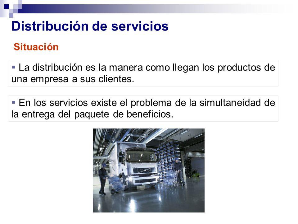 Distribución de servicios La distribución es la manera como llegan los productos de una empresa a sus clientes. En los servicios existe el problema de