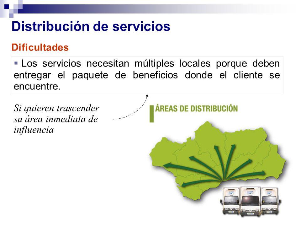 Distribución de servicios Los servicios necesitan múltiples locales porque deben entregar el paquete de beneficios donde el cliente se encuentre. Si q