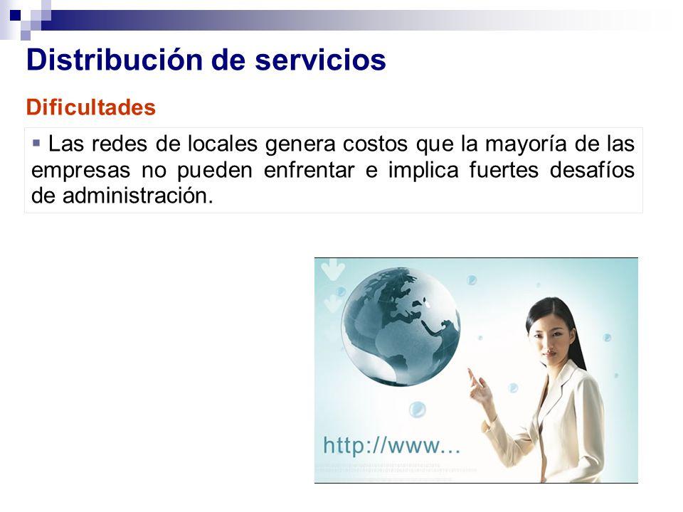 Distribución de servicios Las redes de locales genera costos que la mayoría de las empresas no pueden enfrentar e implica fuertes desafíos de administ