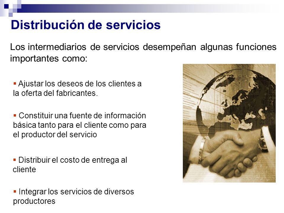 Distribución de servicios Los intermediarios de servicios desempeñan algunas funciones importantes como: Ajustar los deseos de los clientes a la ofert