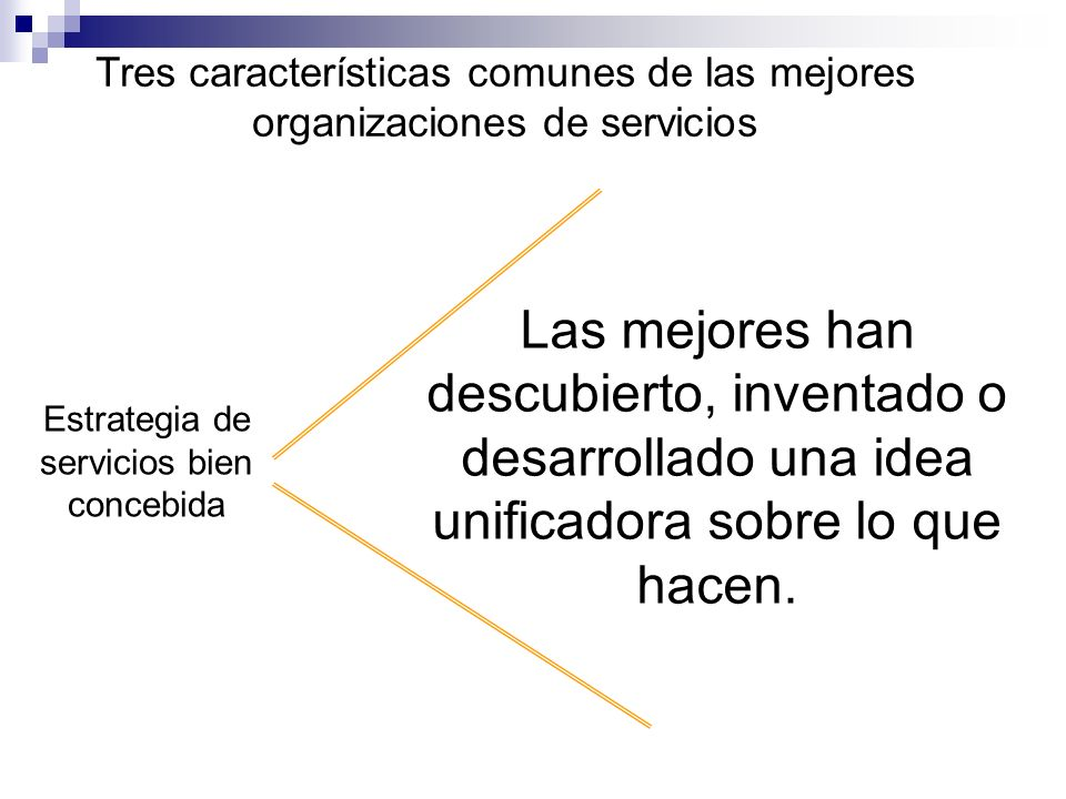 Tres características comunes de las mejores organizaciones de servicios Estrategia de servicios bien concebida Orienta a la gente hacia las prioridades del cliente