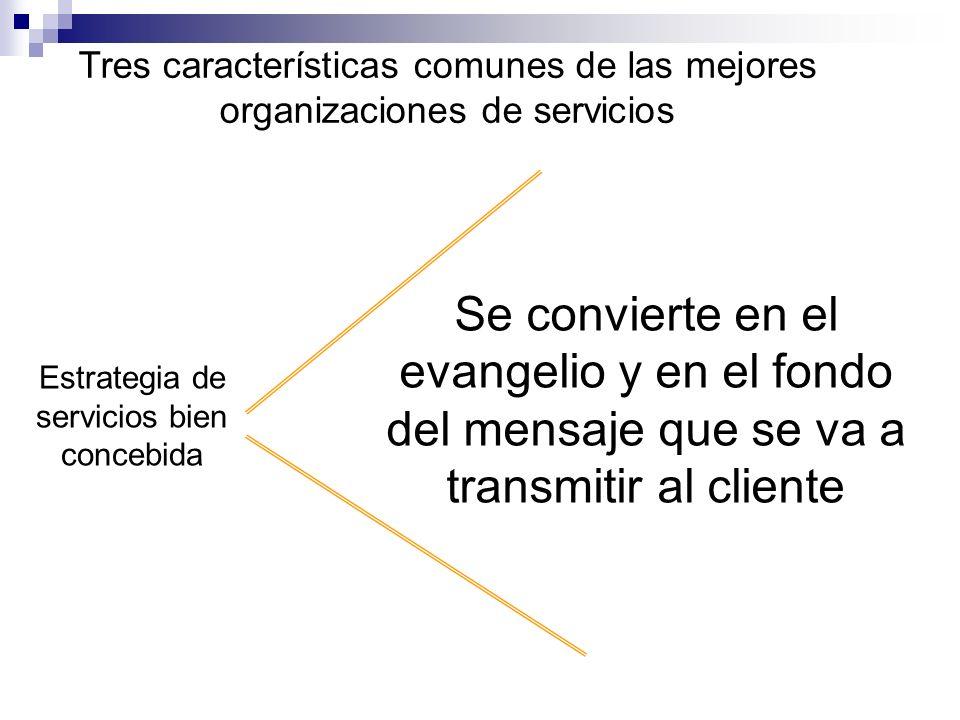 Tres características comunes de las mejores organizaciones de servicios Estrategia de servicios bien concebida Se convierte en el evangelio y en el fo