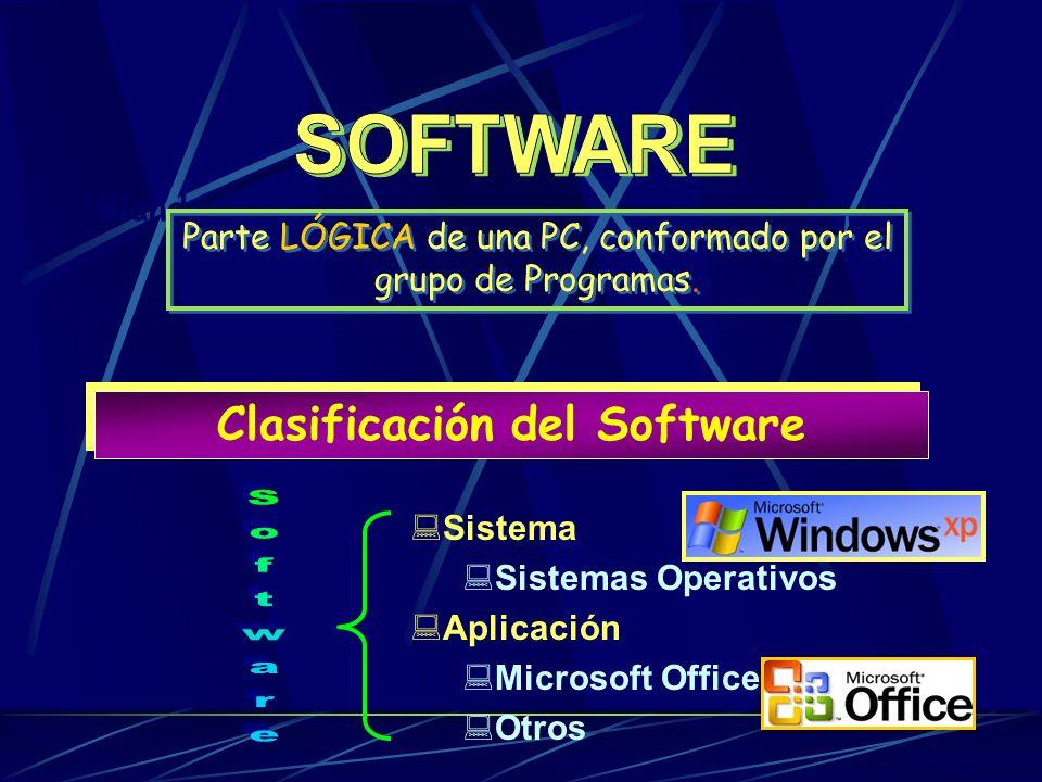 Clasificación del SOFTWARE Conjunto de PROGRAMAS que permite controlar todas las Funciones del COMPUTADOR y sus partes, así como El funcionamiento de las herramientas necesarias para la ejecución de tareas.