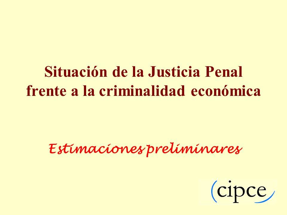 Situación de la Justicia Penal frente a la criminalidad económica Estimaciones preliminares