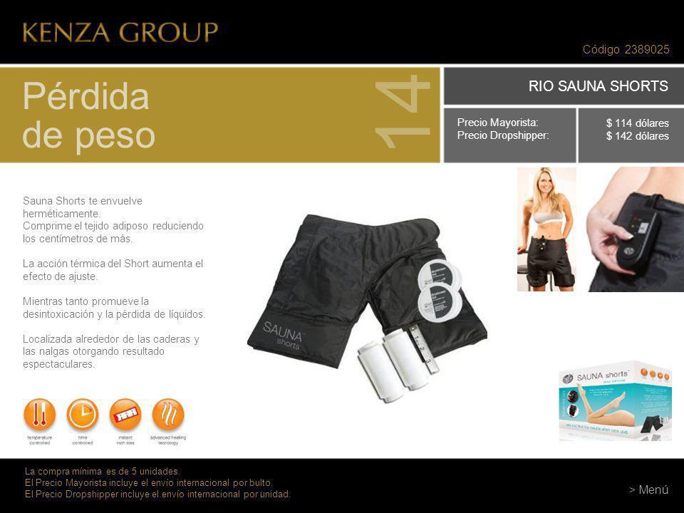 Código 2389025 Pérdida de peso 14 Sauna Shorts te envuelve herméticamente. Comprime el tejido adiposo reduciendo los centímetros de más. La acción tér