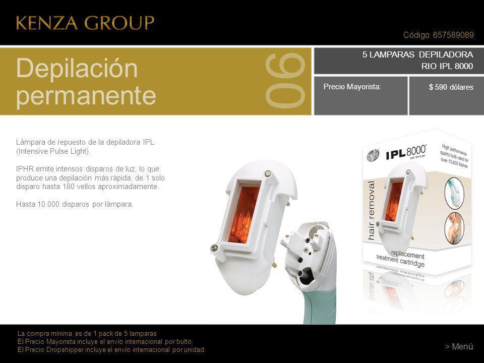 Código 657589089 Depilación permanente 06 La compra mínima es de 1 pack de 5 lamparas El Precio Mayorista incluye el envío internacional por bulto. El