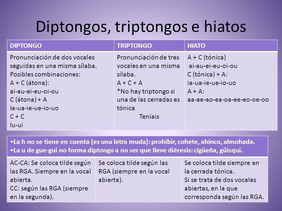 Diptongos, triptongos e hiatos DIPTONGOTRIPTONGOHIATO Pronunciación de dos vocales seguidas en una misma sílaba. Posibles combinaciones: A + C (átona)