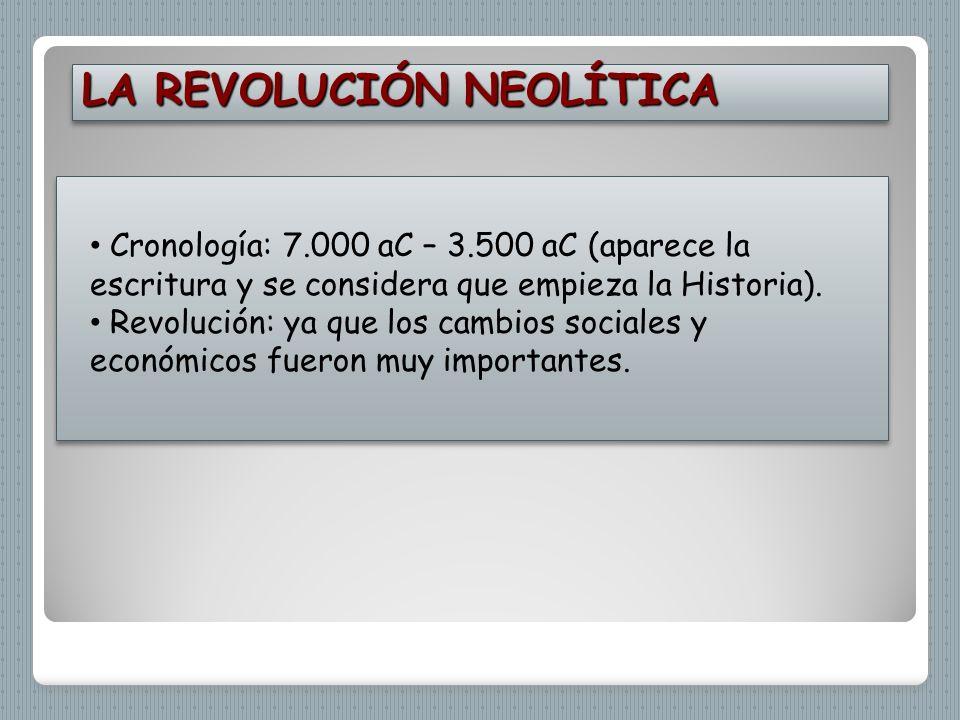 LA REVOLUCIÓN NEOLÍTICA Cronología: 7.000 aC – 3.500 aC (aparece la escritura y se considera que empieza la Historia). Revolución: ya que los cambios