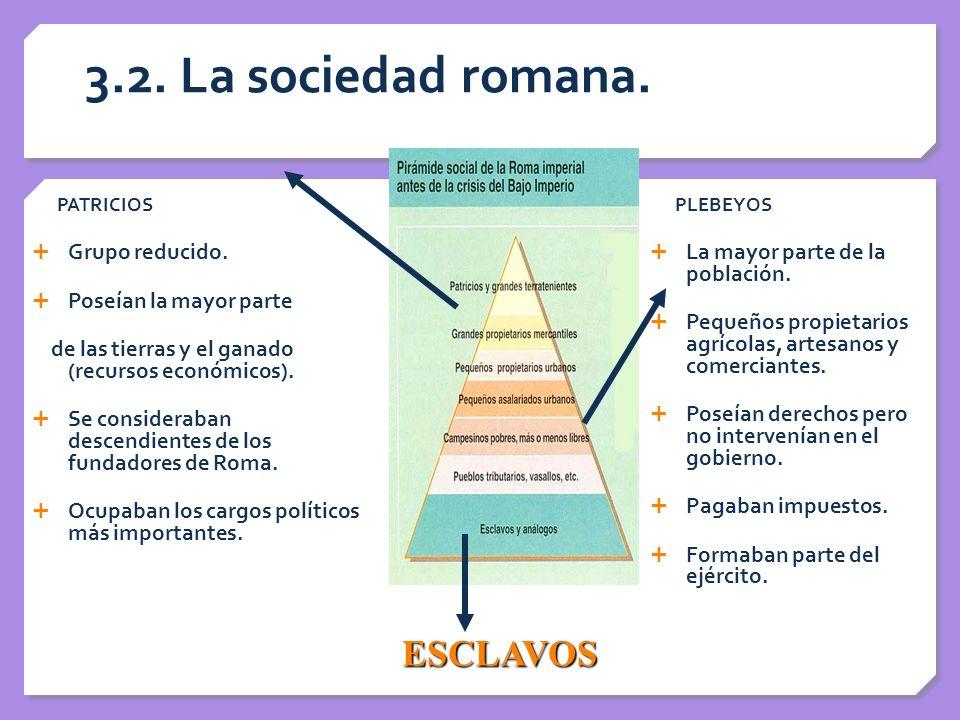 3.2. La sociedad romana. PATRICIOS Grupo reducido. Poseían la mayor parte de las tierras y el ganado (recursos económicos). Se consideraban descendien