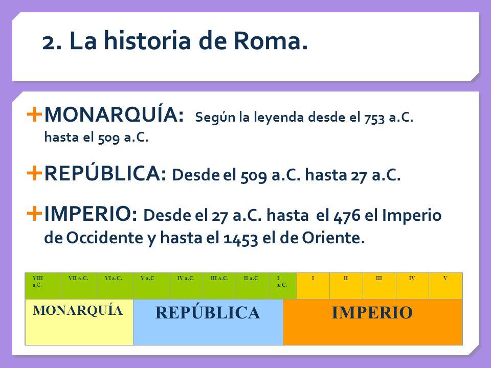 2. La historia de Roma. MONARQUÍA: Según la leyenda desde el 753 a.C. hasta el 509 a.C. REPÚBLICA: Desde el 509 a.C. hasta 27 a.C. IMPERIO: Desde el 2