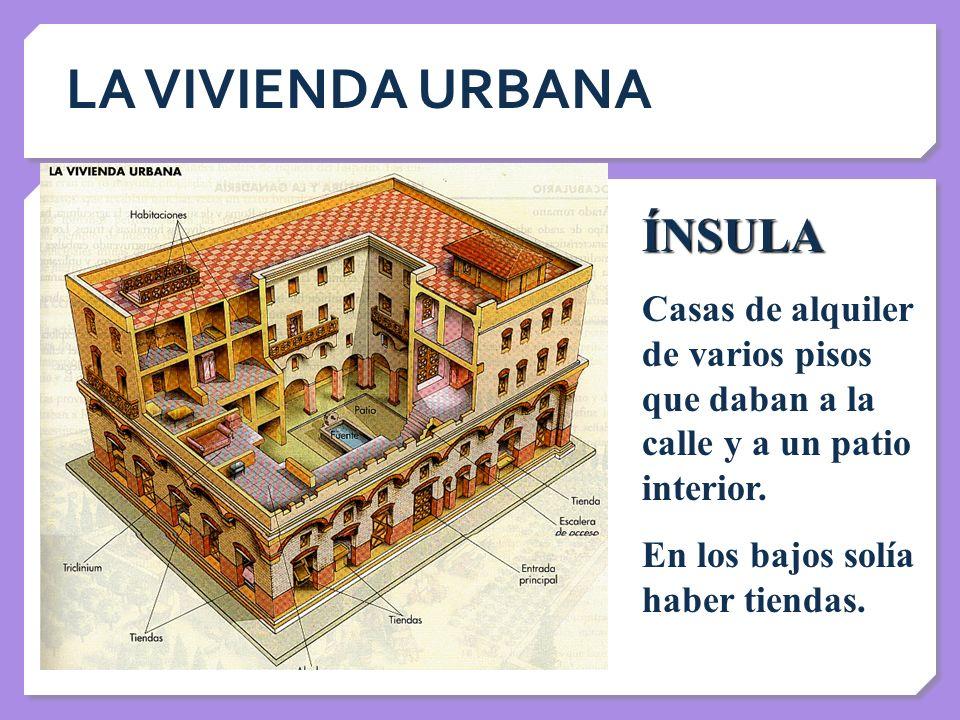LA VIVIENDA URBANA ÍNSULA Casas de alquiler de varios pisos que daban a la calle y a un patio interior. En los bajos solía haber tiendas.