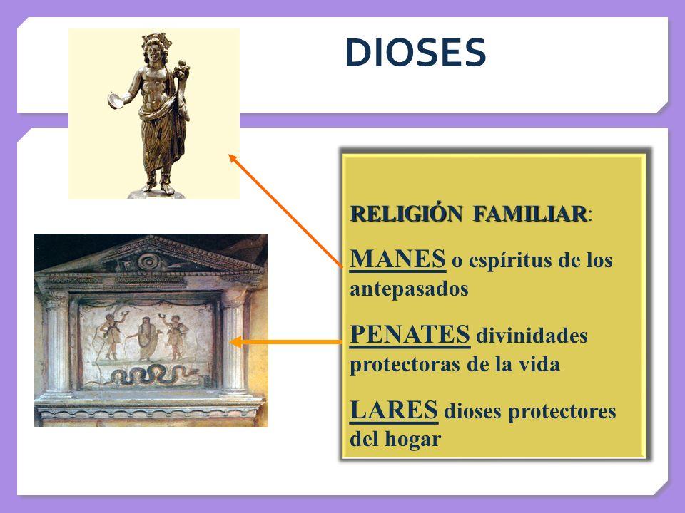 DIOSES RELIGIÓN FAMILIAR RELIGIÓN FAMILIAR: MANES o espíritus de los antepasados PENATES divinidades protectoras de la vida LARES dioses protectores d