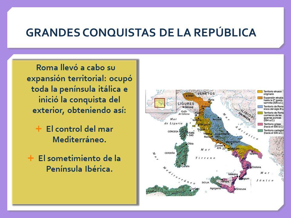 GRANDES CONQUISTAS DE LA REPÚBLICA Roma llevó a cabo su expansión territorial: ocupó toda la península itálica e inició la conquista del exterior, obt