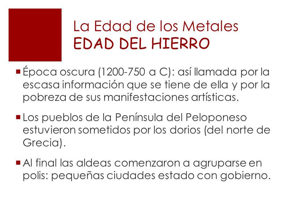 La Edad de los Metales EDAD DEL HIERRO Época oscura (1200-750 a C): así llamada por la escasa información que se tiene de ella y por la pobreza de sus