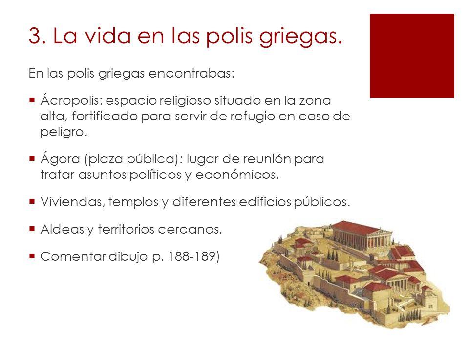 3. La vida en las polis griegas. En las polis griegas encontrabas: Ácropolis: espacio religioso situado en la zona alta, fortificado para servir de re