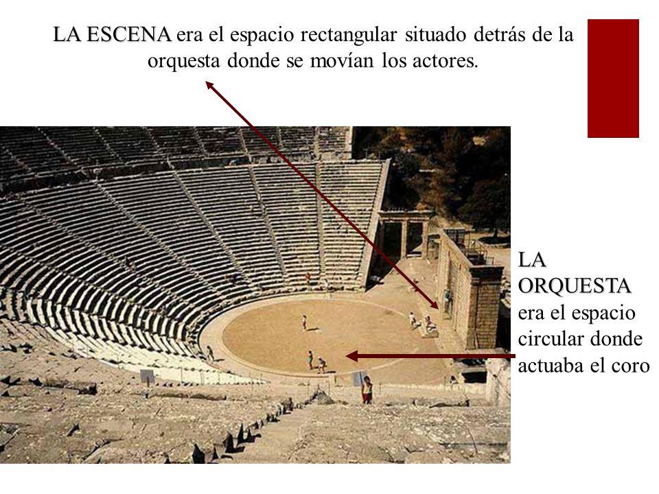 LA ESCENA LA ESCENA era el espacio rectangular situado detrás de la orquesta donde se movían los actores. LA ORQUESTA LA ORQUESTA era el espacio circu