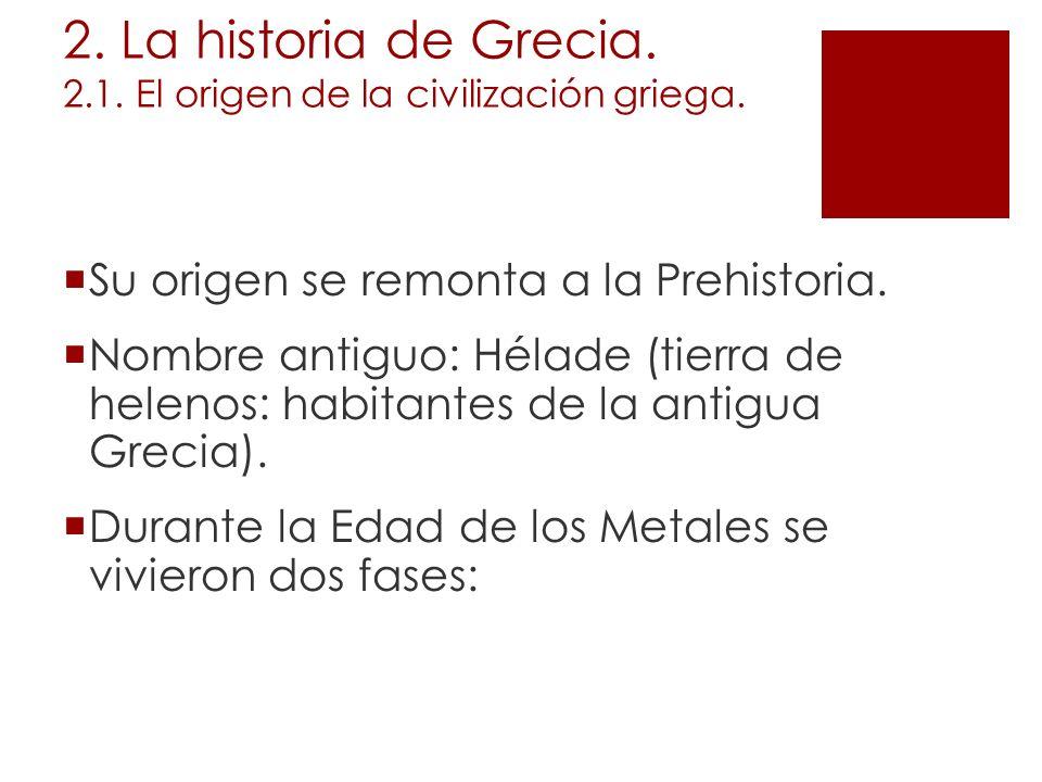 2. La historia de Grecia. 2.1. El origen de la civilización griega. Su origen se remonta a la Prehistoria. Nombre antiguo: Hélade (tierra de helenos: