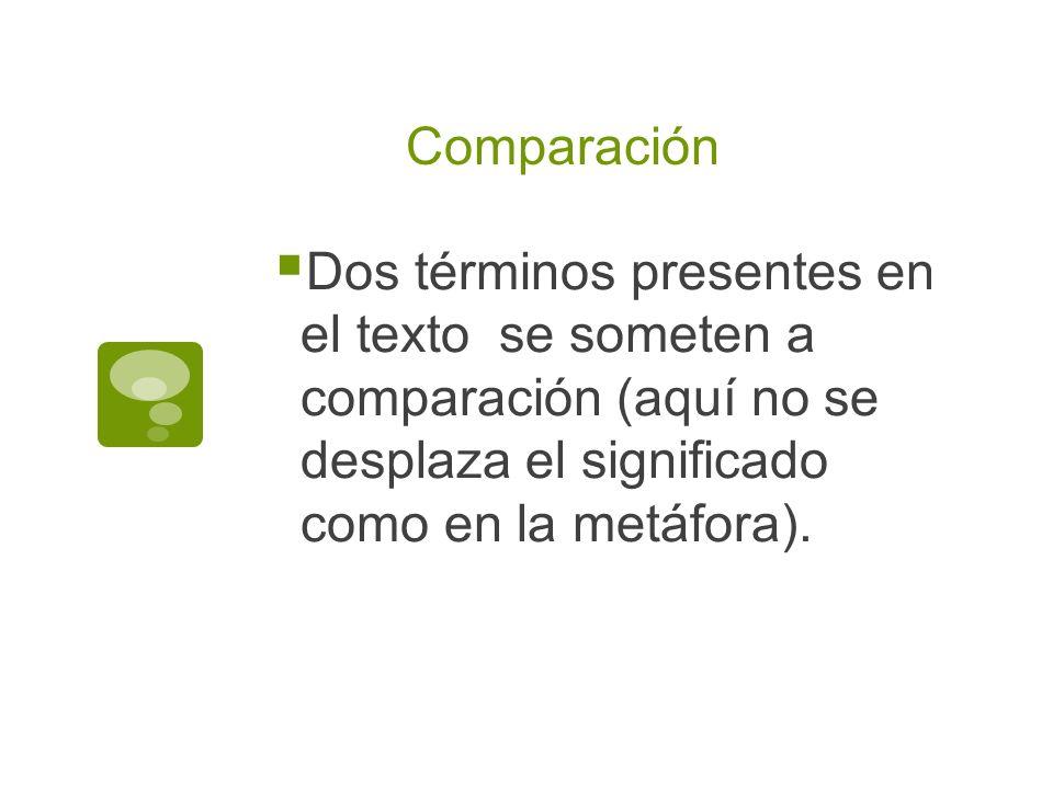 Comparación Dos términos presentes en el texto se someten a comparación (aquí no se desplaza el significado como en la metáfora).