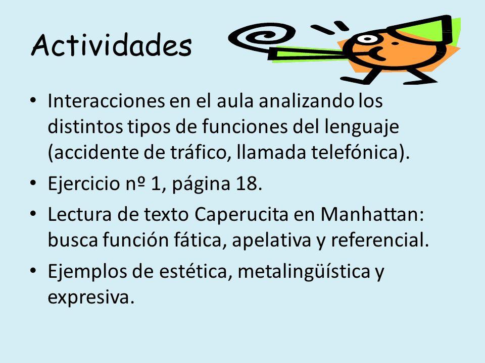 Actividades Interacciones en el aula analizando los distintos tipos de funciones del lenguaje (accidente de tráfico, llamada telefónica). Ejercicio nº