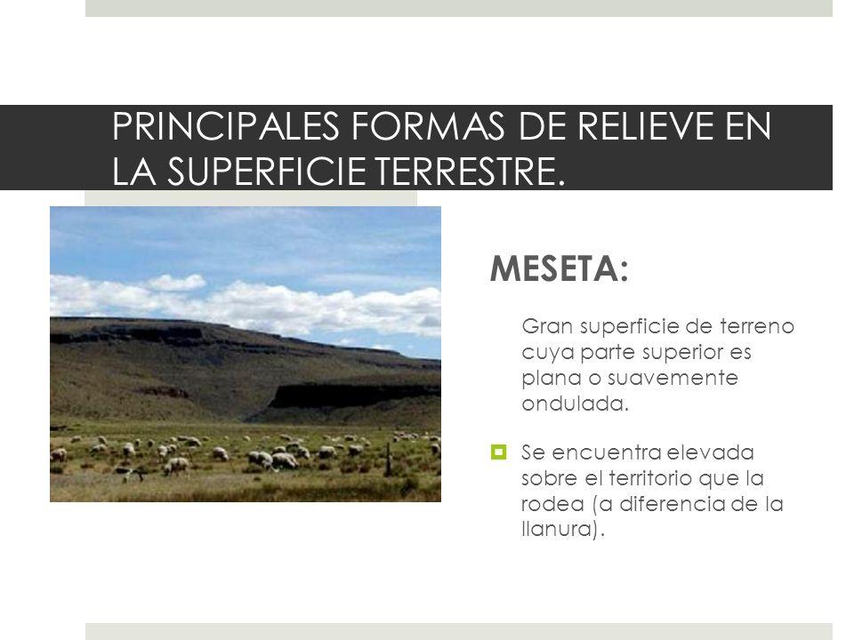 PRINCIPALES FORMAS DE RELIEVE EN LA SUPERFICIE TERRESTRE. MESETA: Gran superficie de terreno cuya parte superior es plana o suavemente ondulada. Se en