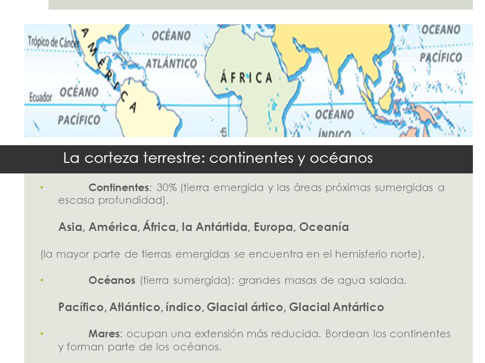La corteza terrestre: continentes y océanos Continentes : 30% (tierra emergida y las áreas próximas sumergidas a escasa profundidad). Asia, América, Á