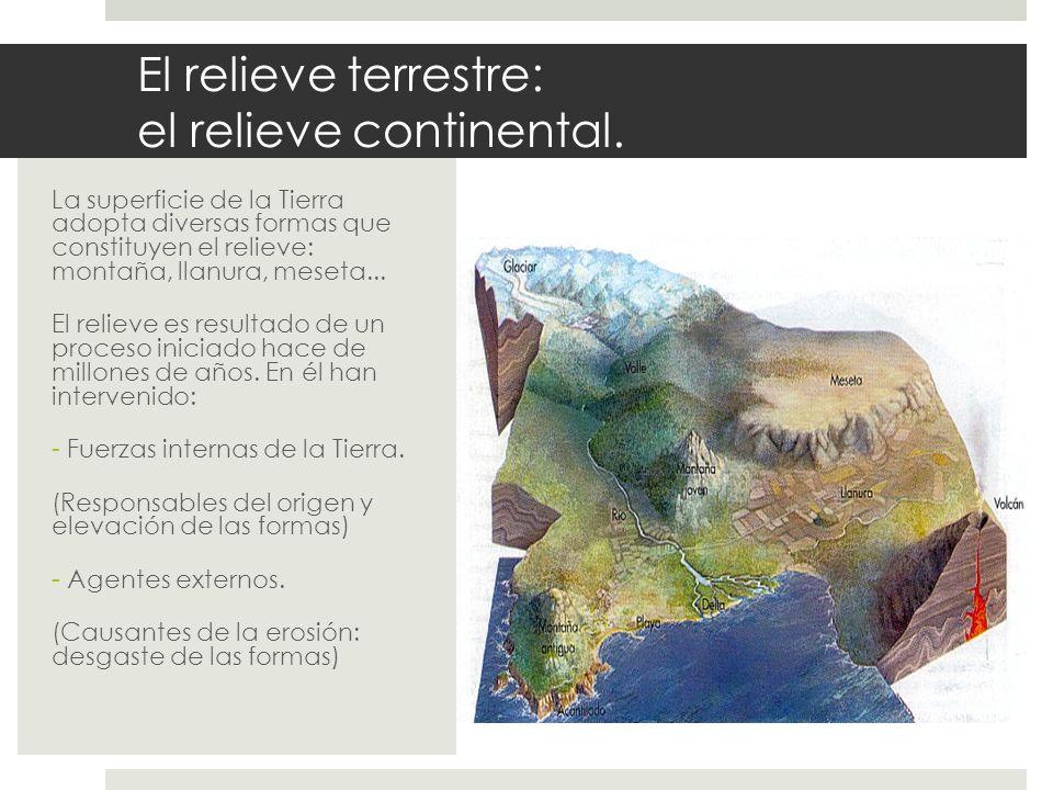 El relieve terrestre: el relieve continental. La superficie de la Tierra adopta diversas formas que constituyen el relieve: montaña, llanura, meseta..
