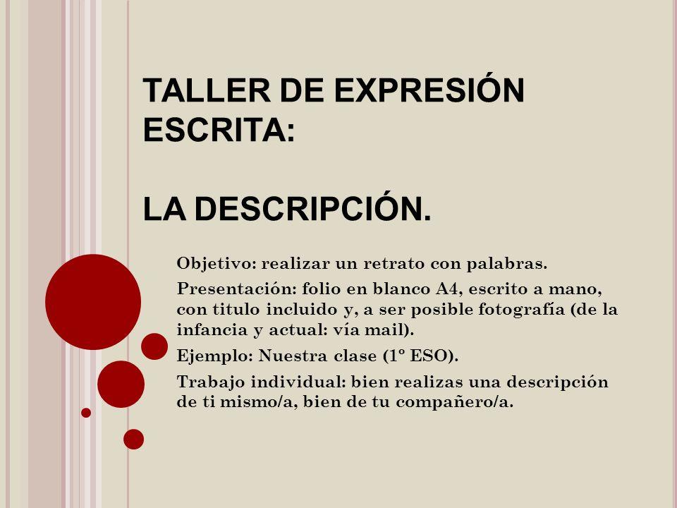 TALLER DE EXPRESIÓN ESCRITA: LA DESCRIPCIÓN. Objetivo: realizar un retrato con palabras. Presentación: folio en blanco A4, escrito a mano, con titulo