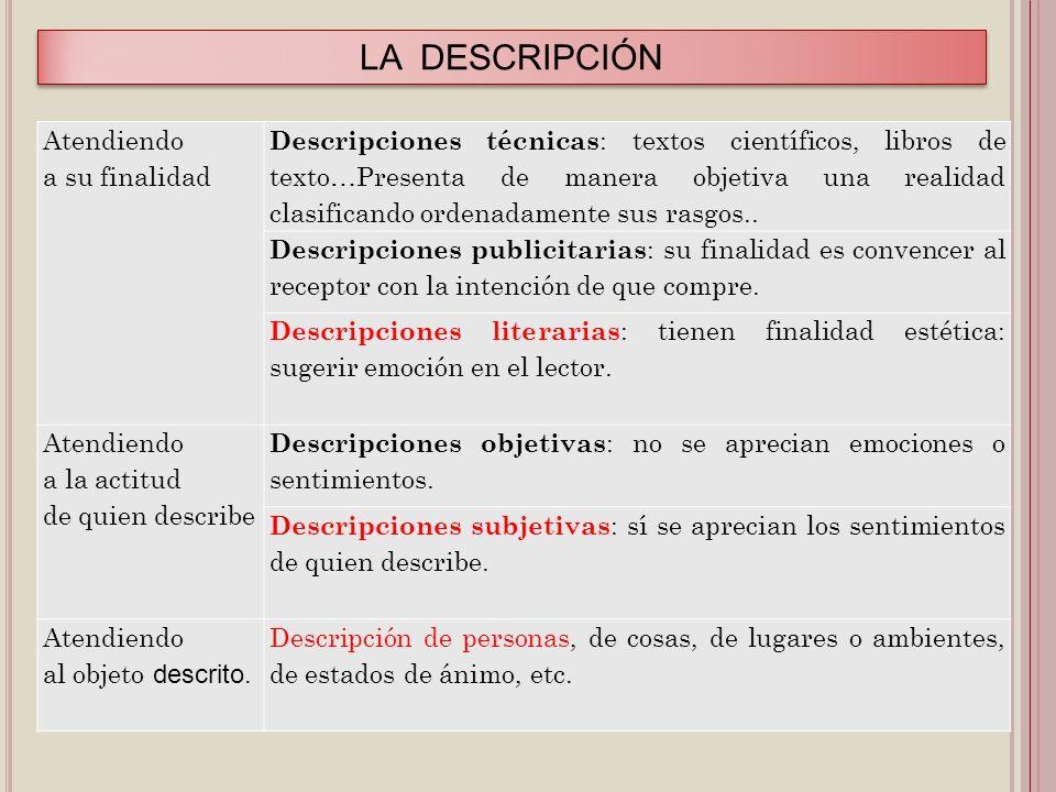 LA DESCRIPCIÓN Atendiendo a su finalidad Descripciones técnicas : textos científicos, libros de texto…Presenta de manera objetiva una realidad clasifi
