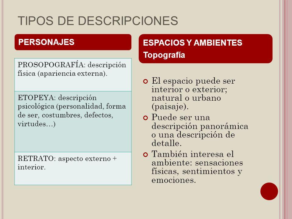 TIPOS DE DESCRIPCIONES PROSOPOGRAFÍA: descripción física (apariencia externa). ETOPEYA: descripción psicológica (personalidad, forma de ser, costumbre