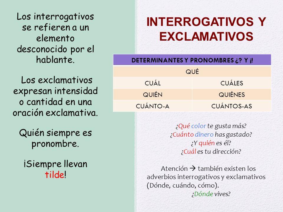 INTERROGATIVOS Y EXCLAMATIVOS DETERMINANTES Y PRONOMBRES ¿? Y ¡! QUÉ CUÁLCUÁLES QUIÉNQUIÉNES CUÁNTO-ACUÁNTOS-AS Los interrogativos se refieren a un el