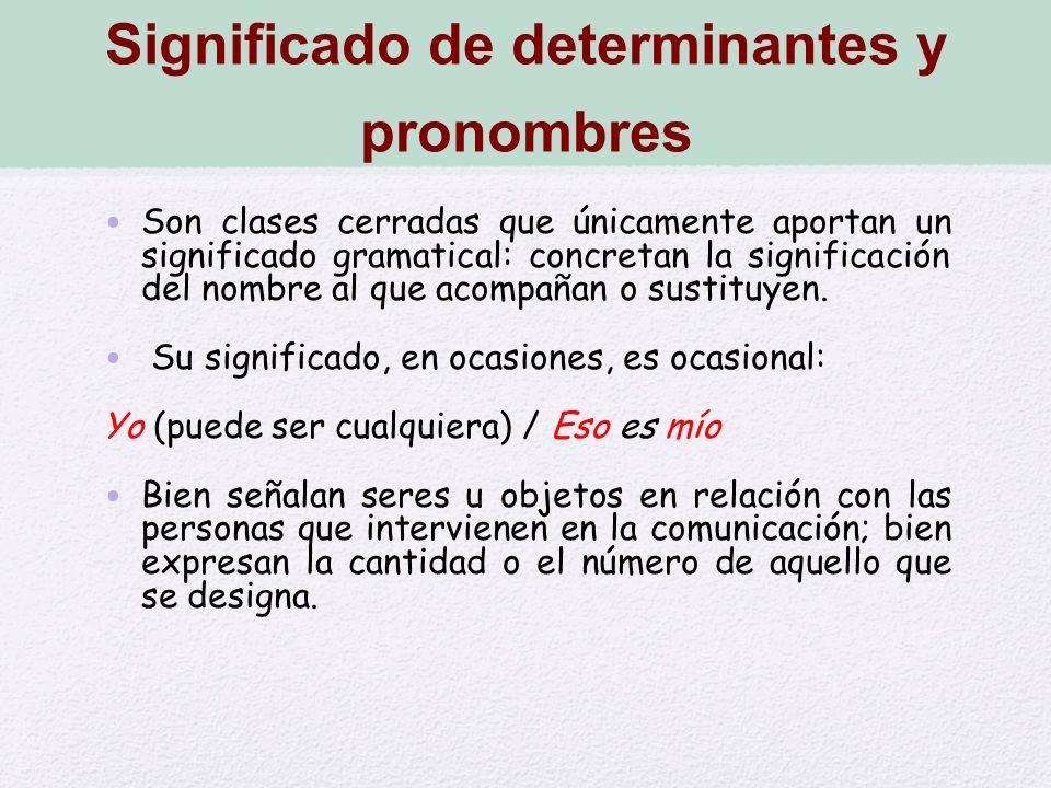 Significado de determinantes y pronombres Son clases cerradas que únicamente aportan un significado gramatical: concretan la significación del nombre