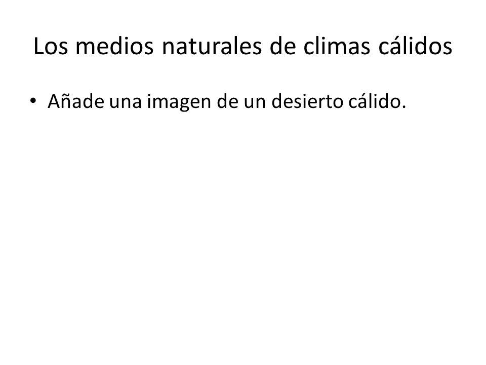 Los medios naturales de climas cálidos Añade una imagen de un desierto cálido.