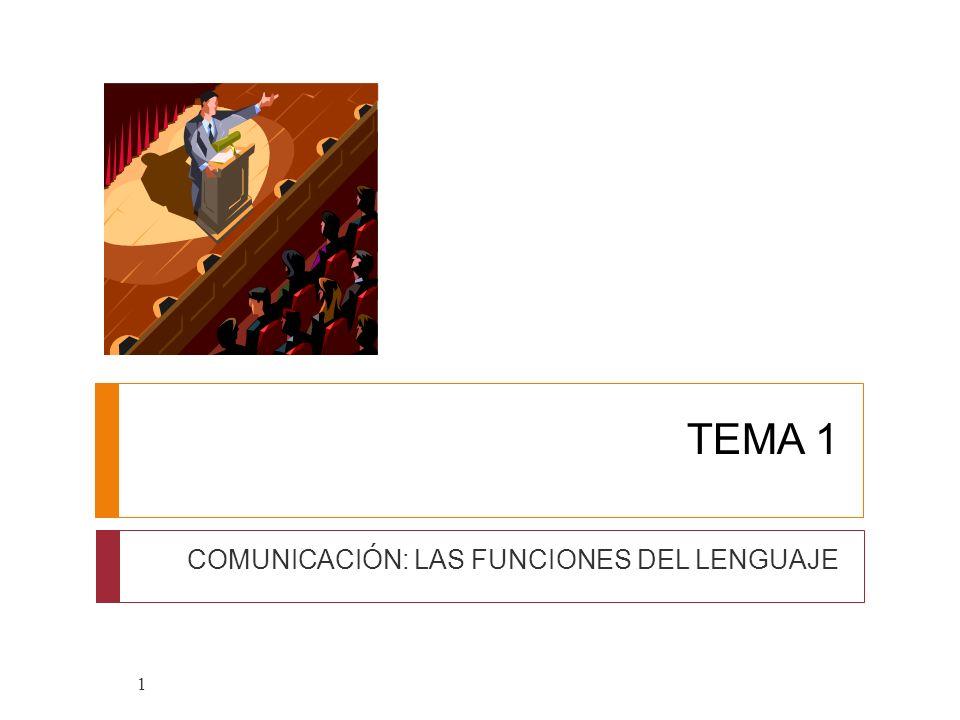 TEMA 1 COMUNICACIÓN: LAS FUNCIONES DEL LENGUAJE 1