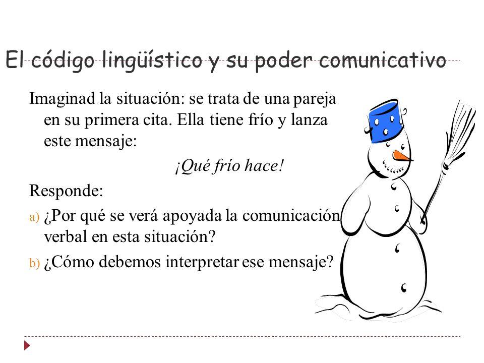 El código lingüístico y su poder comunicativo Imaginad la situación: se trata de una pareja en su primera cita.