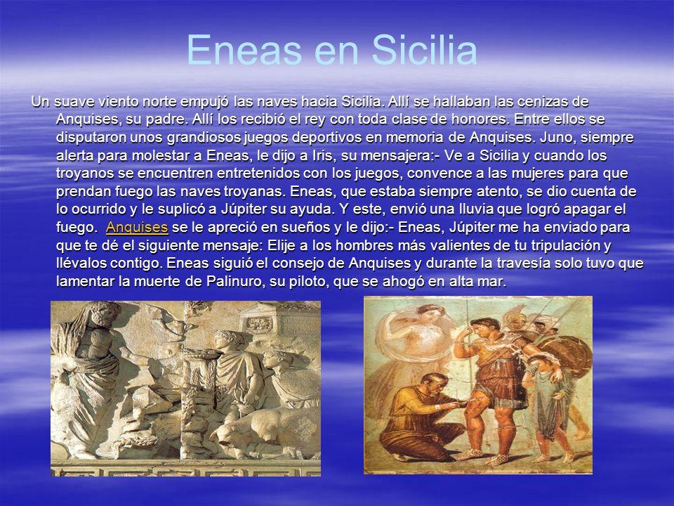 Eneas en el país de los latinos La diosa Juno, dispuesta a molestar a Eneas puso a los latinos en su contra.