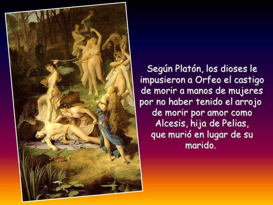 Según Platón, los dioses le impusieron a Orfeo el castigo de morir a manos de mujeres por no haber tenido el arrojo de morir por amor como Alcesis, hi