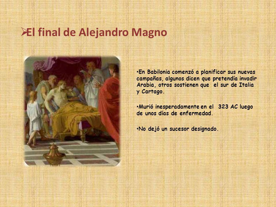 División del Imperio tras la muerte de Alejandro Sus familiares y herederos(su madre,mujeres e hijos)fueron víctimas mortales de las luchas sucesorias que se desencadenaron.
