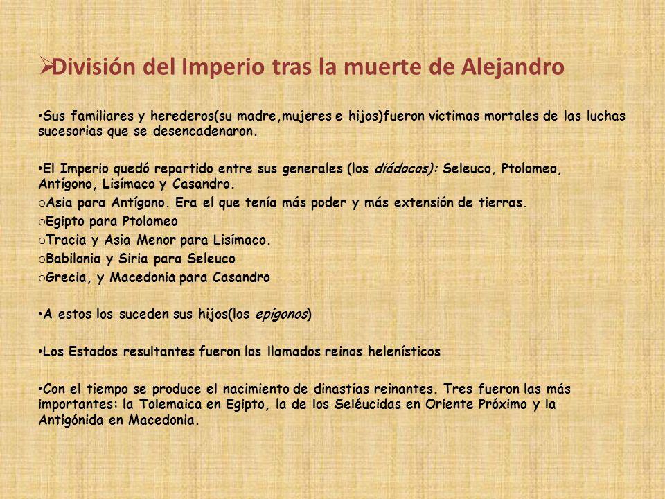 División del Imperio tras la muerte de Alejandro Sus familiares y herederos(su madre,mujeres e hijos)fueron víctimas mortales de las luchas sucesorias