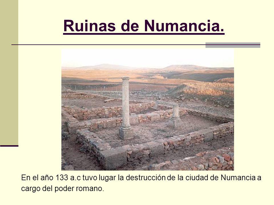 Ruinas de Numancia. En el año 133 a.c tuvo lugar la destrucción de la ciudad de Numancia a cargo del poder romano.