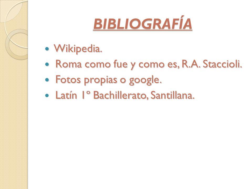 BIBLIOGRAFÍA Wikipedia. Wikipedia. Roma como fue y como es, R.A. Staccioli. Roma como fue y como es, R.A. Staccioli. Fotos propias o google. Fotos pro