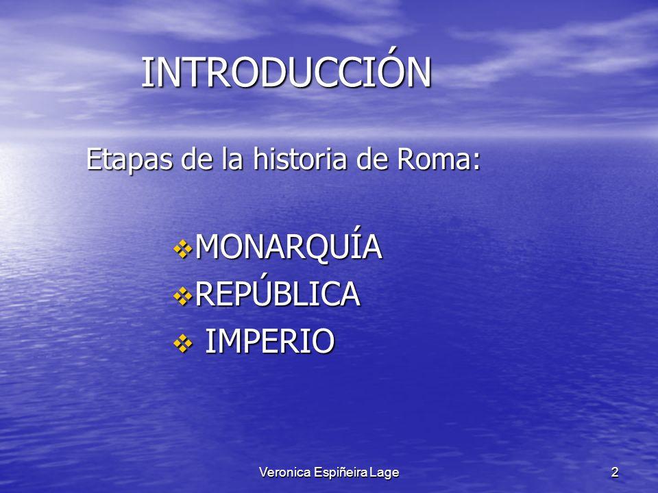 Veronica Espiñeira Lage2 INTRODUCCIÓN INTRODUCCIÓN Etapas de la historia de Roma: Etapas de la historia de Roma: MONARQUÍA MONARQUÍA REPÚBLICA REPÚBLI