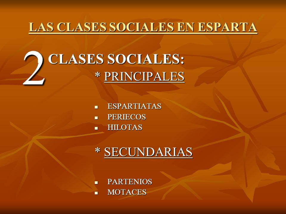 CLASES SOCIALES PRINCIPALES Espartiatas Llamados moioi (homoioi, ´´los iguales´´), eran ciudadanos con todos los derechos civiles.