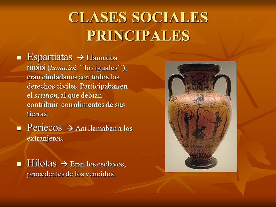 CLASES SOCIALES SECUNDARIAS Partenios Eran hijos ilegítimos, lo que era frecuente debido a la ausencia de los espartiatas por las constantes guerras.