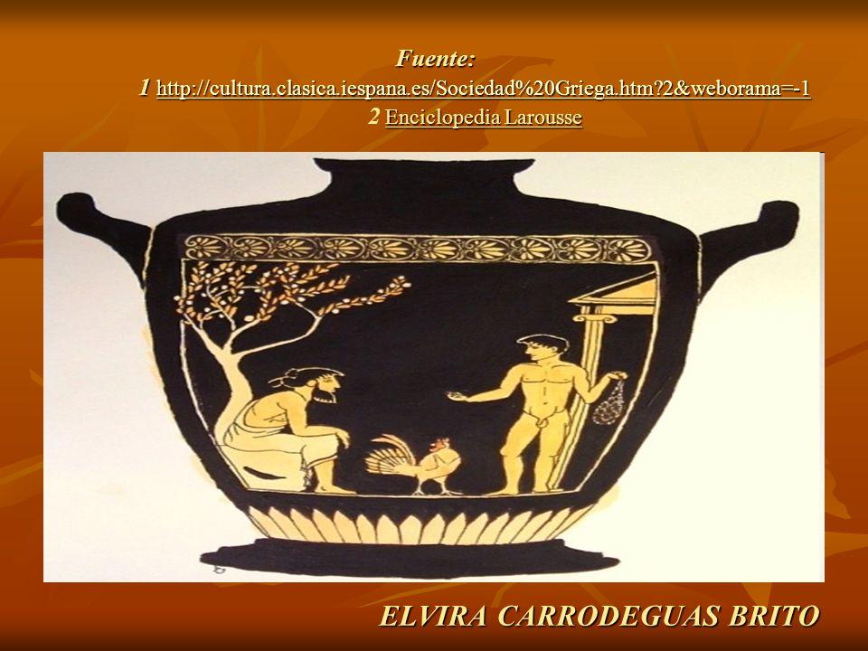 ELVIRA CARRODEGUAS BRITO Fuente: 1 http://cultura.clasica.iespana.es/Sociedad%20Griega.htm?2&weborama=-1 Enciclopedia Larousse Fuente: 1 http://cultur