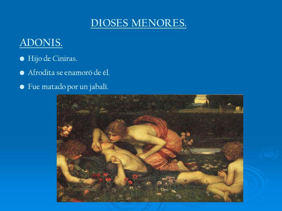 DIOSES MENORES. ADONIS. Hijo de Ciniras. Afrodita se enamoró de él. Fue matado por un jabalí.