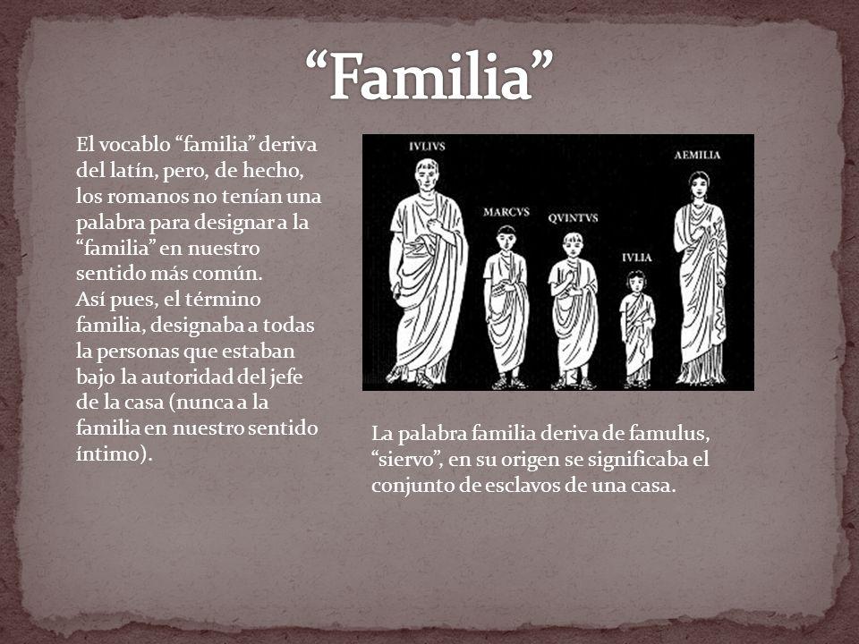 El vocablo familia deriva del latín, pero, de hecho, los romanos no tenían una palabra para designar a la familia en nuestro sentido más común. Así pu