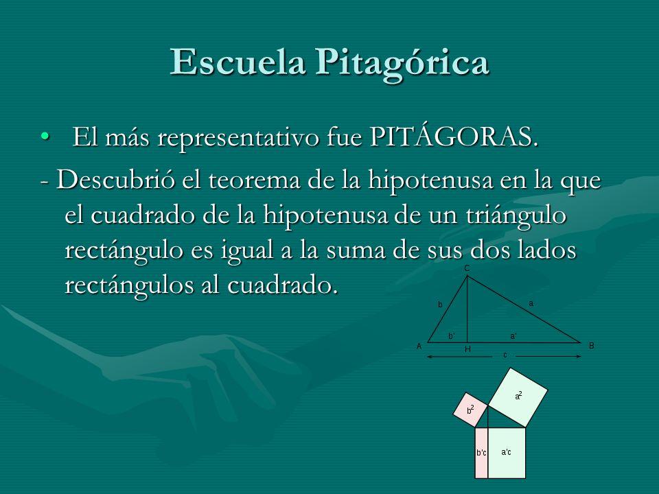 Escuela Pitagórica El más representativo fue PITÁGORAS. El más representativo fue PITÁGORAS. - Descubrió el teorema de la hipotenusa en la que el cuad