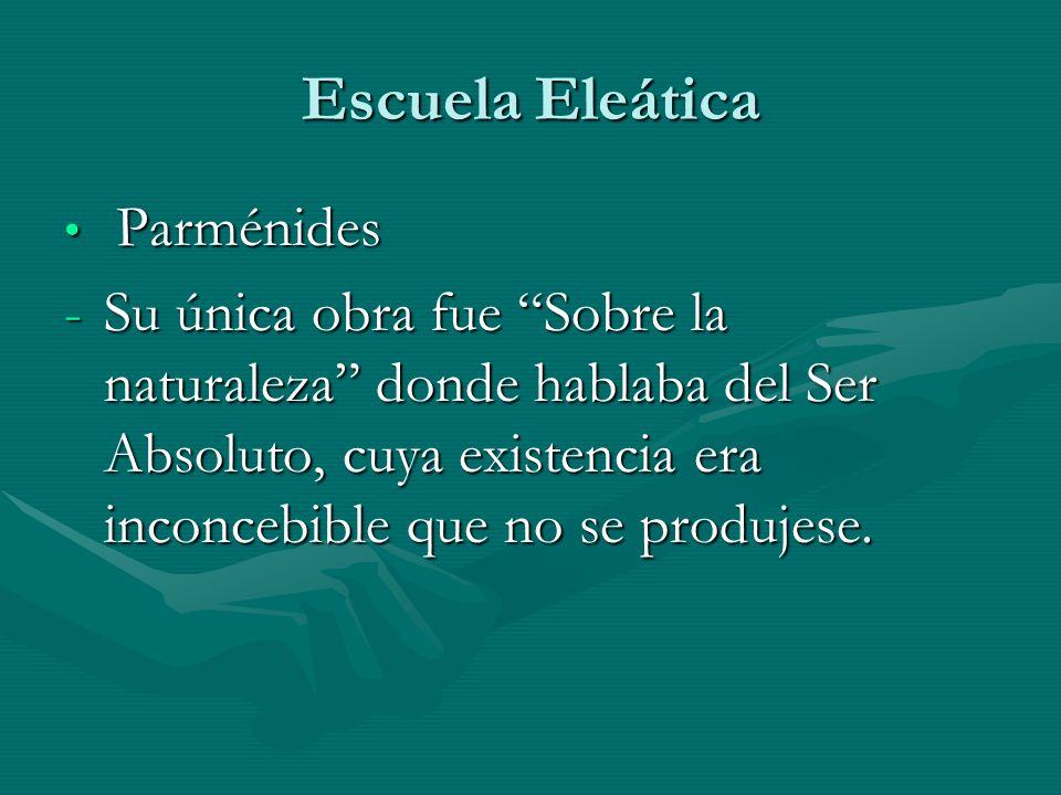 Escuela Eleática Parménides Parménides -Su única obra fue Sobre la naturaleza donde hablaba del Ser Absoluto, cuya existencia era inconcebible que no