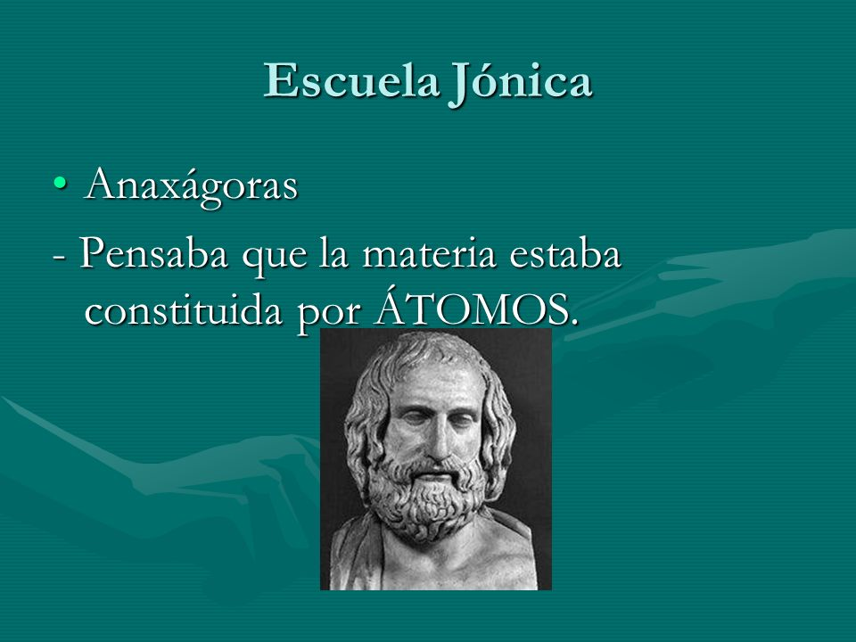Escuela Jónica AnaxágorasAnaxágoras - Pensaba que la materia estaba constituida por ÁTOMOS.