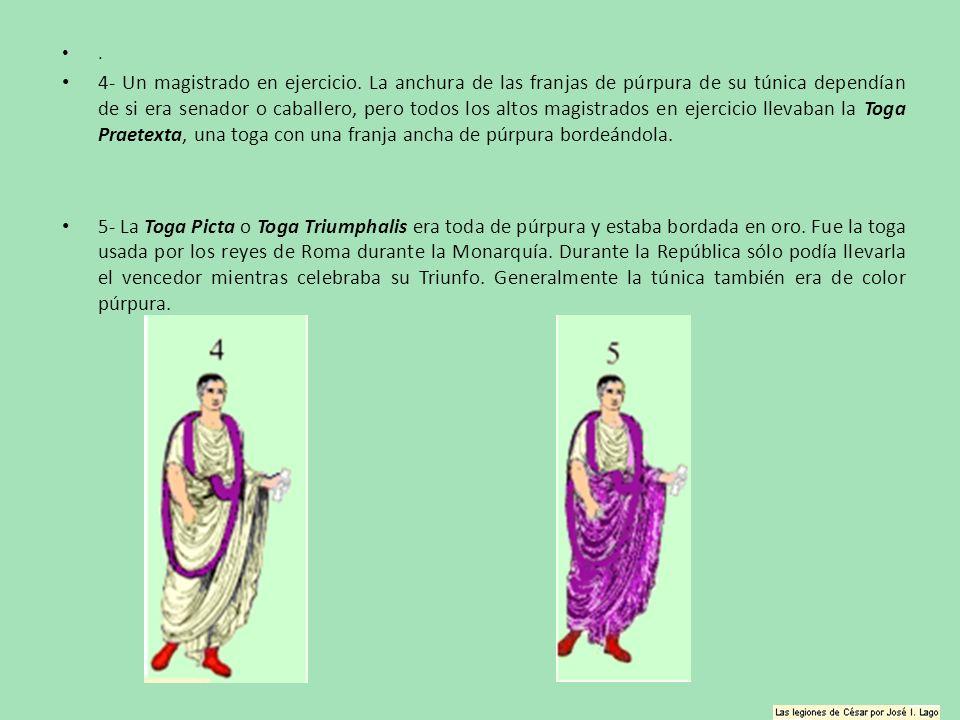 . 4- Un magistrado en ejercicio. La anchura de las franjas de púrpura de su túnica dependían de si era senador o caballero, pero todos los altos magis